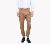Cropped Cotton Linen Cargo Pants