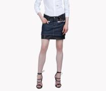 Leather Check Denim Skirt