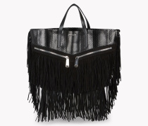 Fringed Leather Rock Tote