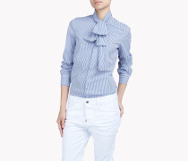 Striped Cotton Pussy Bow Shirt