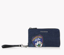 Denim Patch Zip Wallet