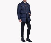 Denim-Nylon Quilted Coat