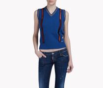 Suspender-Embellished Wool Vest