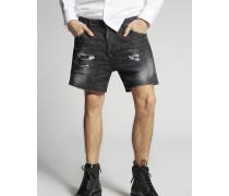 Black Buchi Squared Crotch Denim Shorts