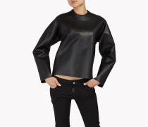 Back-Zip Leather Sweatshirt