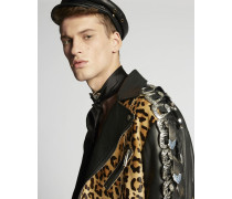 Leopard Leather Buckle Jacket