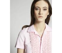 Cotton Twill Ruffled Bib Short Sleeve Hemd