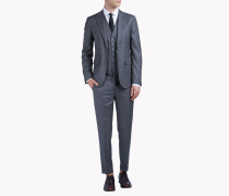 Slim-Fit Wool Checked London Suit