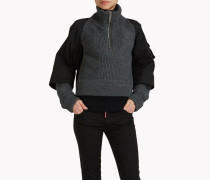 Ribbed Wool Half-Zip Pullover