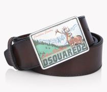D2 Mountain Buckle Leather Belt
