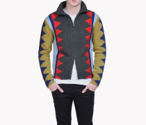 Intarsia Geometric Zip-Up Sweater