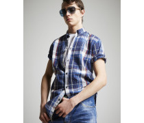 Cotton Check Sexy Button Down Roll Up Hemd