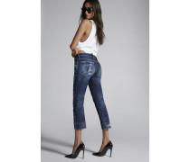Medium Super Ripped Paint Spots Kick Jeans