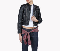 Check Cape Leather Jacket