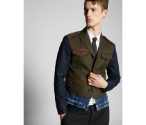 Cotton Twill-Contrasted Denim Jacket