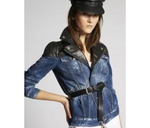 Contrasted Leather Denim Biker Jacket