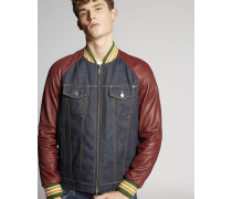 Denim-Leather Sleeves Jacket