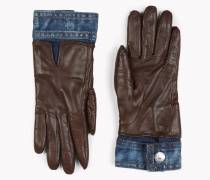 Contrasted Denim Leather Gloves