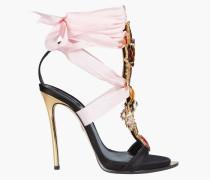 Lace-up Embellished Satin Sandals