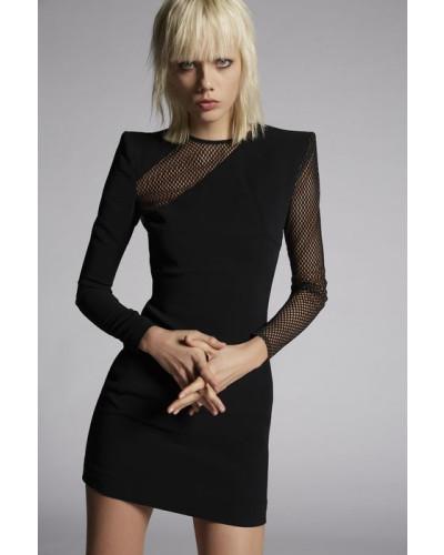 Stretch Viscose Crepe Melissa Mesh Dress