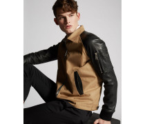 Cotton Twill-Leather Sleeves Boxy Bomber