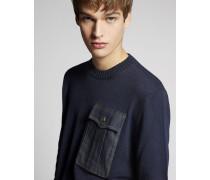 Denim Pocket Wool Pullover