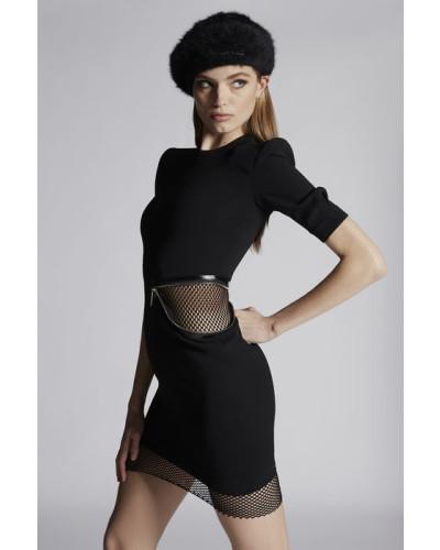 Stretch Viscose Crepe Debbie Hip Zip Short Sleeves Dress