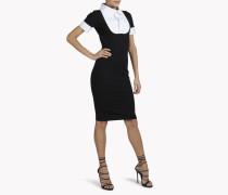 Jersey Short-Sleeve Collar Bib Dress
