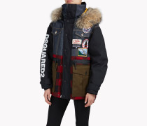 Fur-Trimmed Check Denim Patch Ski Parka
