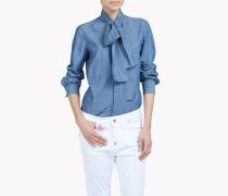 Cotton Linen Pussy Bow Shirt