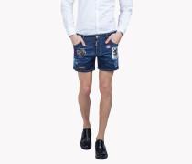 Patch Denim Shorts