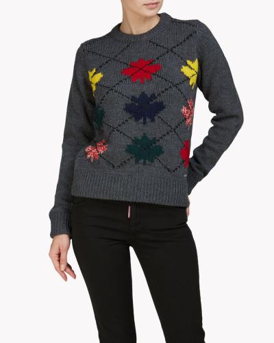 Maple Leaf Argyle Pullover