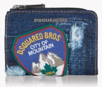 Mini Denim Patch Zip Wallet