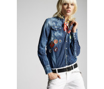 Denim Western Hemd With Patches