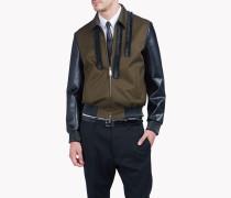 Leather Ruffle Bomber Jacket