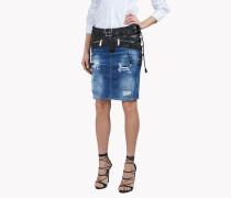 Leather-Trim Denim Skirt