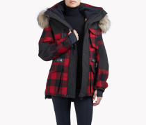 Fur-Trimmed Buffalo Check Ski Parka