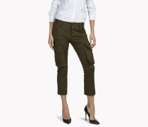 Sexy Cropped Flare Cargo Pants
