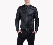 Leather Mandarin Jacket