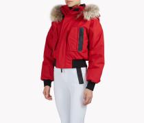 Fur-Trimmed Hood Ski Bomber Jacket