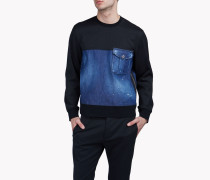 Contrasted Denim Sweatshirt