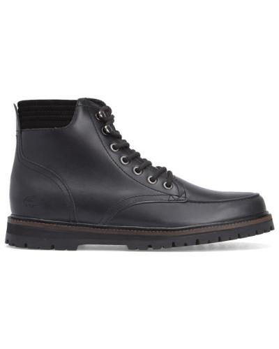 lacoste herren schwarze leder boots montbard reduziert. Black Bedroom Furniture Sets. Home Design Ideas