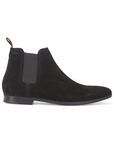 hugo boss herren schwarze chelsea boots aus veloursleder reduziert. Black Bedroom Furniture Sets. Home Design Ideas