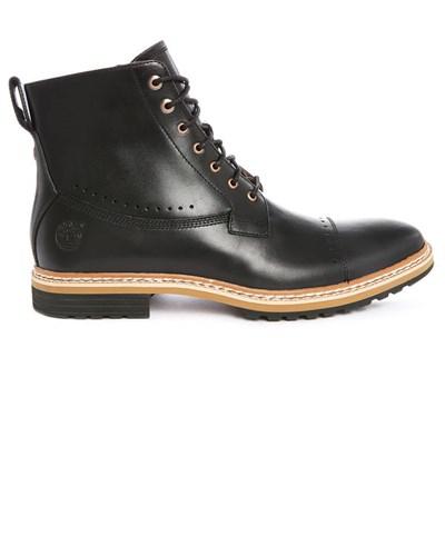 timberland herren schwarze leder boots mit rei verschluss. Black Bedroom Furniture Sets. Home Design Ideas