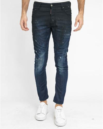 dsquared herren blaue beschichtete jeans tidy biker black. Black Bedroom Furniture Sets. Home Design Ideas