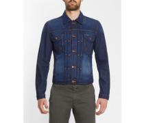 Dunkelblaue Jeansjacke mit besticktem Rücken Modern Jacket