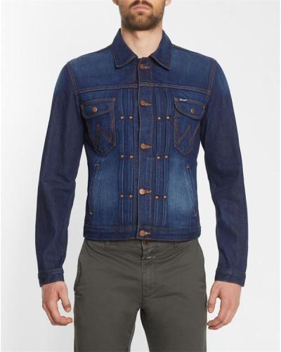 wrangler herren dunkelblaue jeansjacke mit besticktem. Black Bedroom Furniture Sets. Home Design Ideas