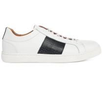 Weiße niedrige Sneaker aus Leder mit perforiertem marineblauem Streifen Duran