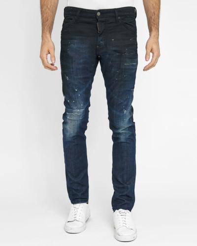 dsquared herren blaue beschichtete jeans cool guy black. Black Bedroom Furniture Sets. Home Design Ideas