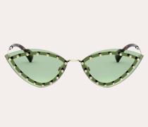 VALENTINO Dreieckige Sonnenbrille aus Metall mit Kristallnieten
